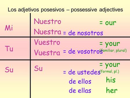Nuestro = our Nuestra Mi Vuestro = your Vuestra Tu Su Su his her