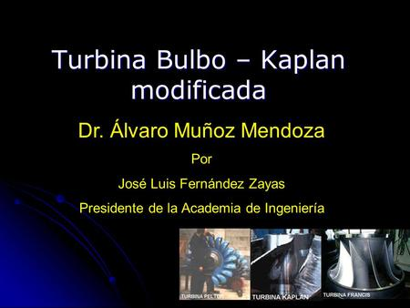 Turbina Bulbo – Kaplan modificada
