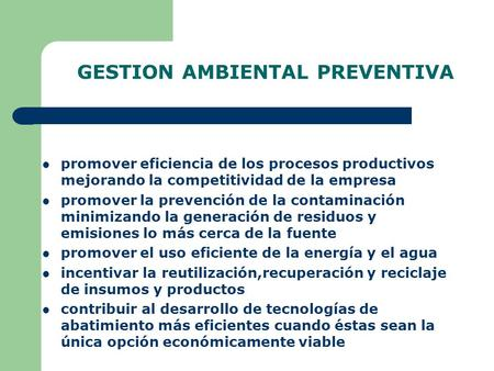 GESTION AMBIENTAL PREVENTIVA