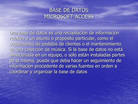 BASE DE DATOS MICROSOFT ACCESS