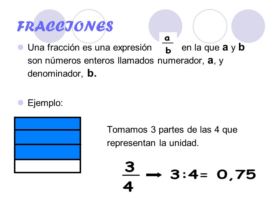 Fracciones Una Fracción Es Una Expresión En La Que A Y B Son Números Enteros Llamados Numerador A Y Denominador B Ejemplo Tomamos 3 Partes Ppt Descargar