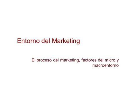 El proceso del marketing, factores del micro y macroentorno