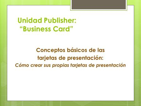"Unidad Publisher: ""Business Card"""
