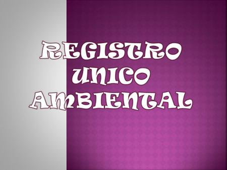 REGISTRO UNICO AMBIENTAL.