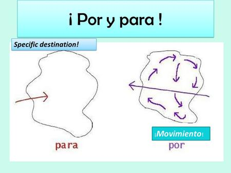 ¡ Por y para ! ¡ Movimiento ! Specific destination!