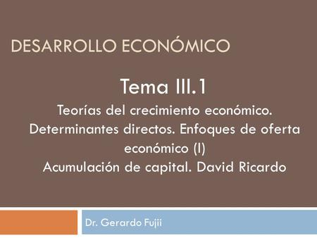 Acumulación de capital. David Ricardo