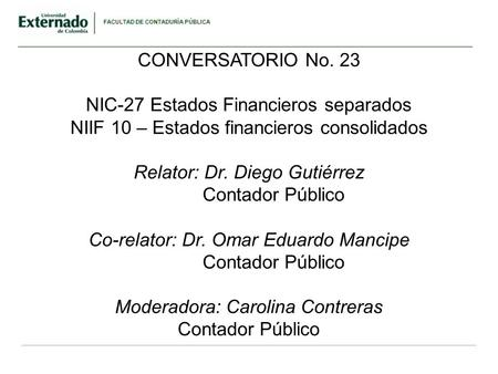 NIC-27 Estados Financieros separados