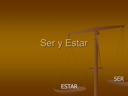 Ser y Estar SER ESTAR. SERESTAR To be PONDPOND HELPHELP Irregular forms rofession (Soy maestra.) rigin (Juan es de México.) ationality (Somos mexicanos.)