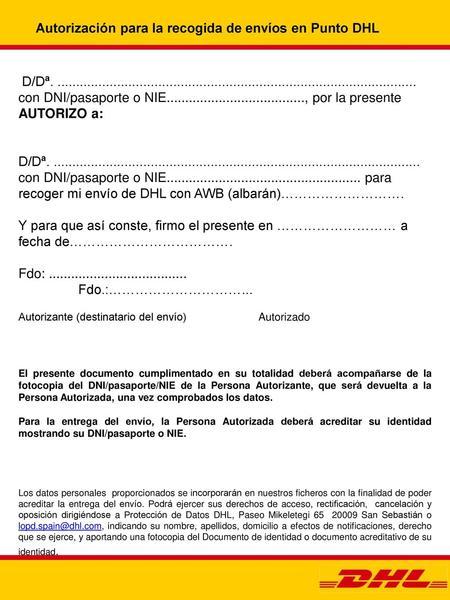 Modelo autorizacion para recoger paquete en correos