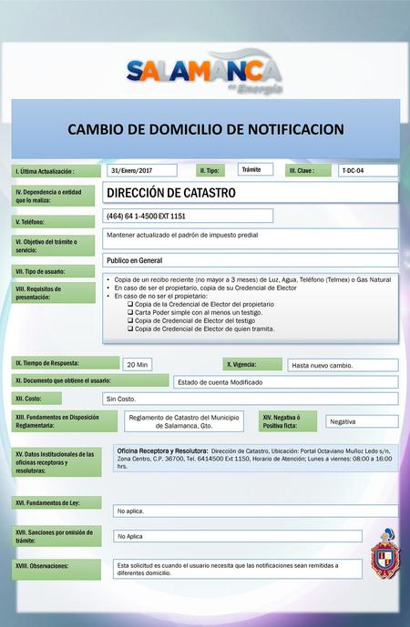 CAMBIO DE DOMICILIO DE NOTIFICACION