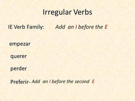 Irregular Verbs IE Verb Family: Add an I before the E empezar querer
