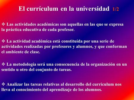 El currículum en la universidad 1/2
