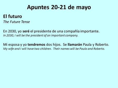 Apuntes 20-21 de mayo El futuro The Future Tense En 2030, yo seré el presidente de una compañía importante. In 2030, I will be the president of an important.