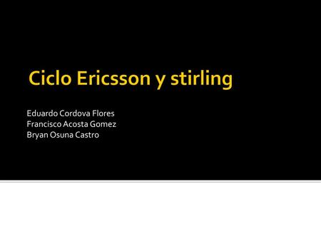 Ciclo Ericsson y stirling