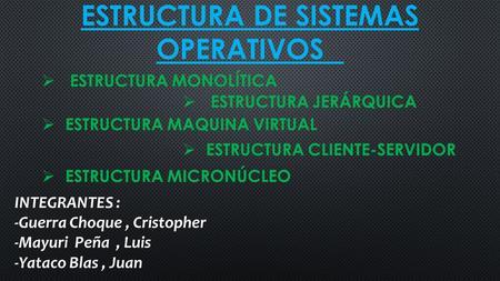 Estructura De Sistemas Operativos Estructura Monolítica