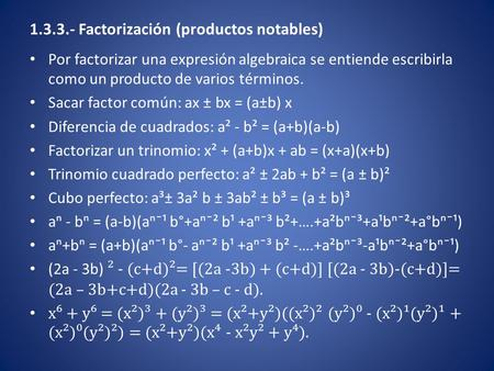 Factorización (productos notables)