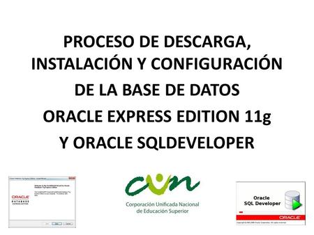 PROCESO DE DESCARGA, INSTALACIÓN Y CONFIGURACIÓN DE LA BASE DE DATOS ORACLE EXPRESS EDITION 11g Y ORACLE SQLDEVELOPER.