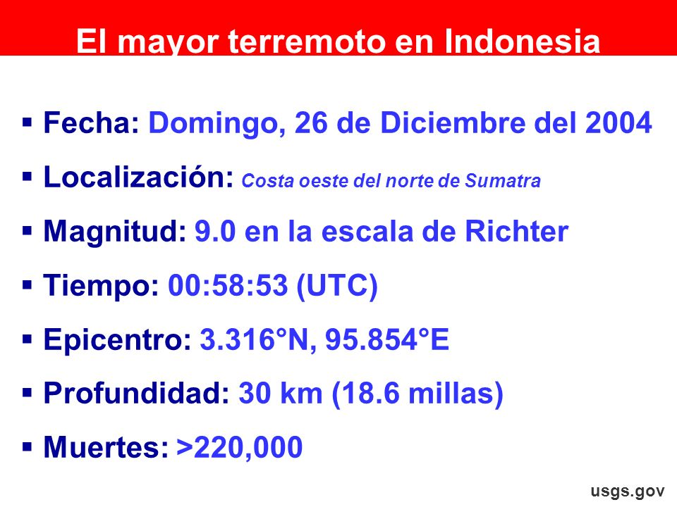 El mayor terremoto en Indonesia