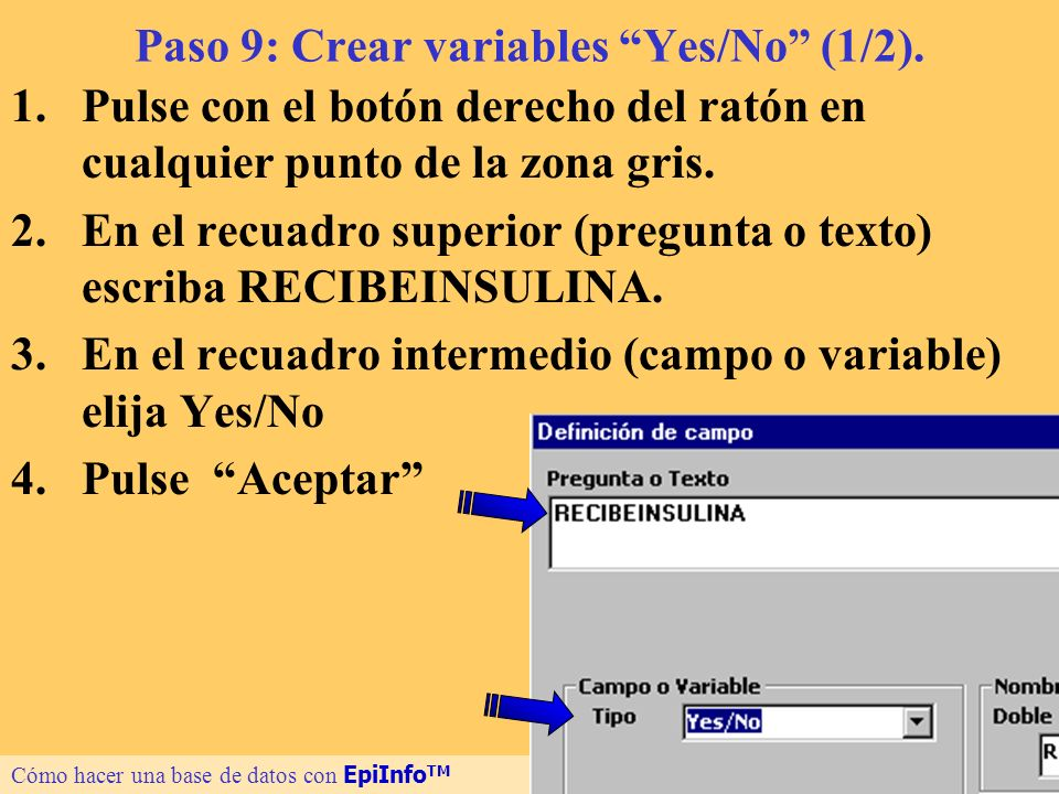 Paso 9: Crear variables Yes/No (1/2).
