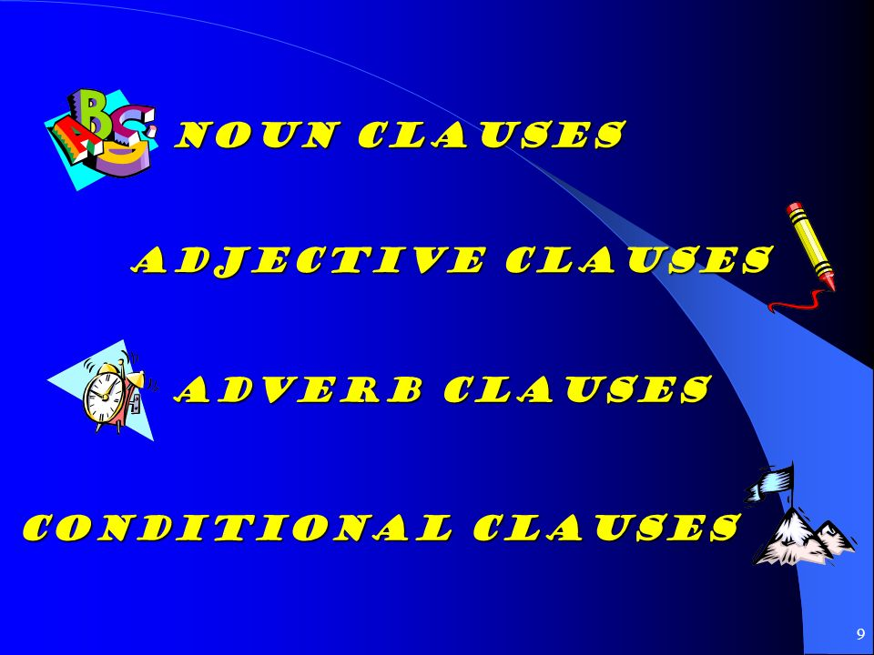 Noun Clauses Adjective Clauses Adverb Clauses Conditional Clauses