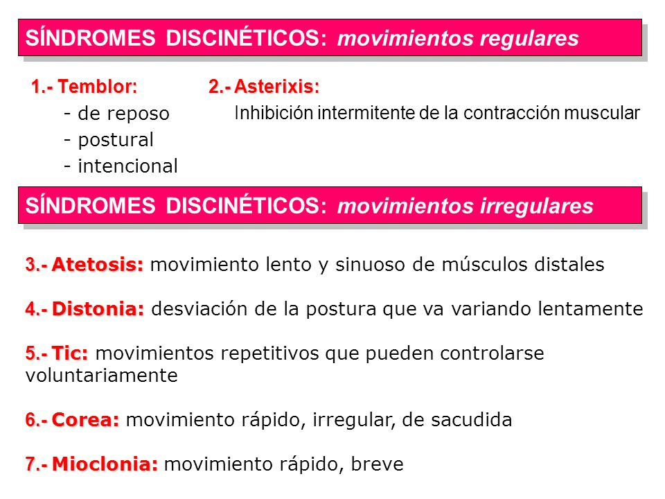 SÍNDROMES DISCINÉTICOS: movimientos regulares