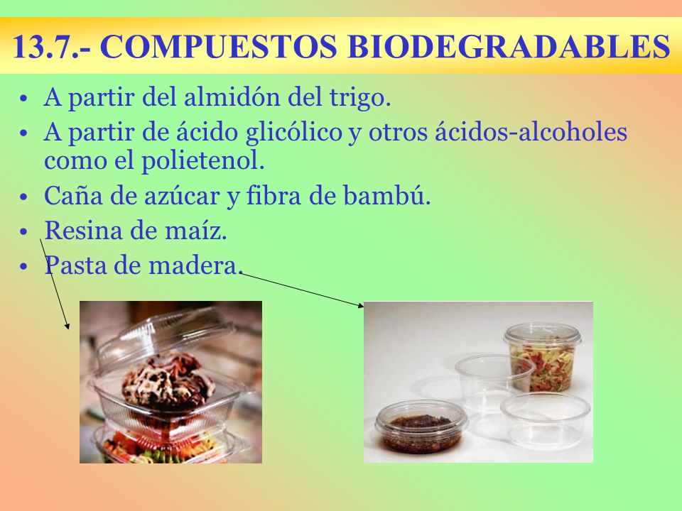 13.7.- COMPUESTOS BIODEGRADABLES
