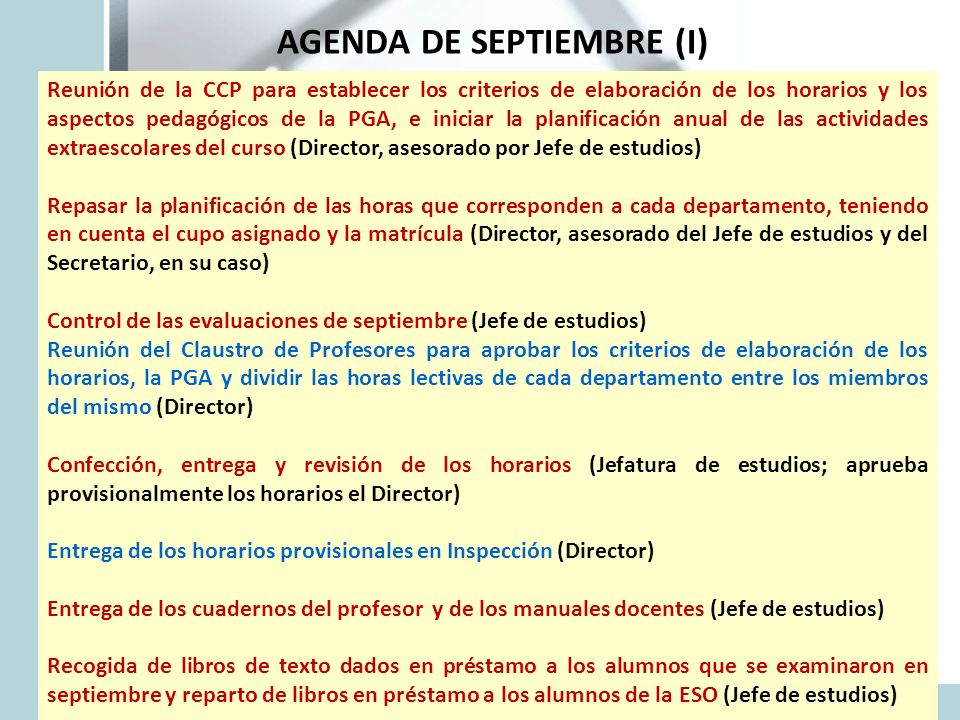 AGENDA DE SEPTIEMBRE (I) - ppt descargar