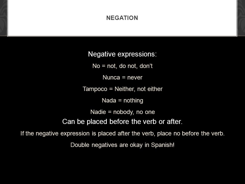 Negative expressions: