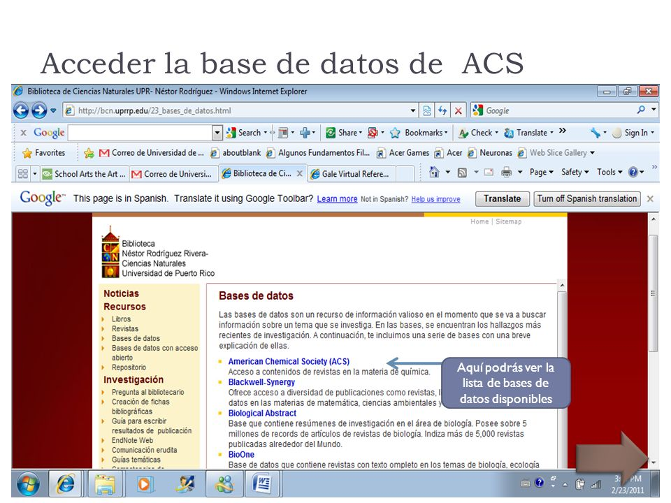 Acceder la base de datos de ACS