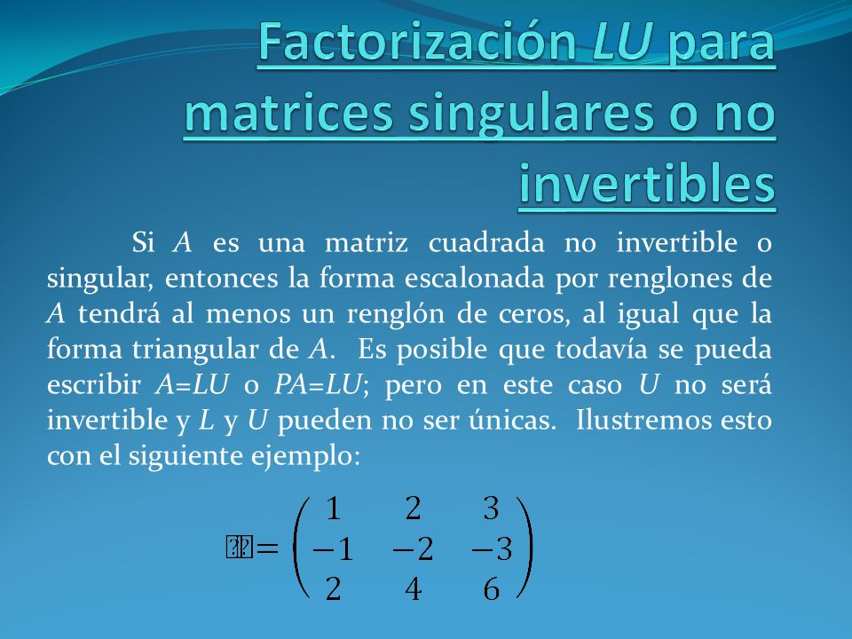 Factorización LU para matrices singulares o no invertibles