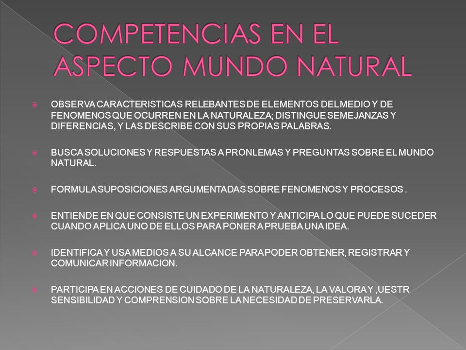 COMPETENCIAS EN EL ASPECTO MUNDO NATURAL
