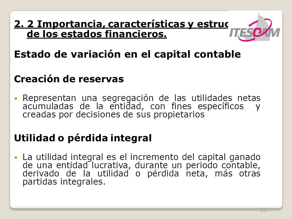 Estado de variación en el capital contable