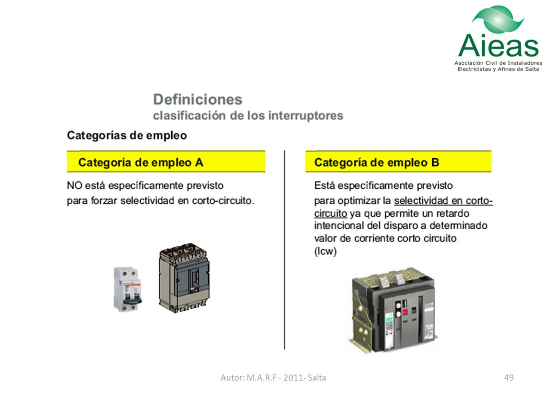 El Interruptor Termomagntico Ppt Descargar Selectividad Y Q De Un Circuito 49 Autor Marf Salta