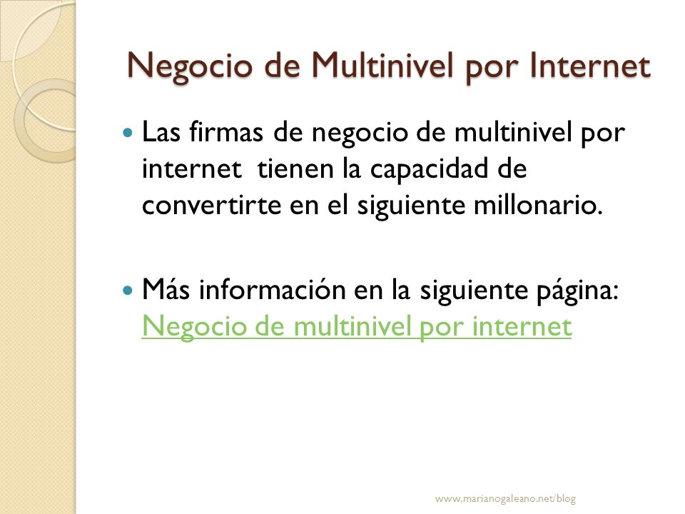 Negocio de Multinivel por Internet