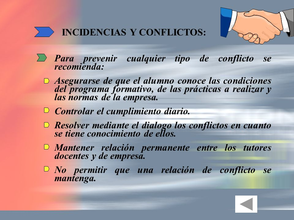 INCIDENCIAS Y CONFLICTOS:
