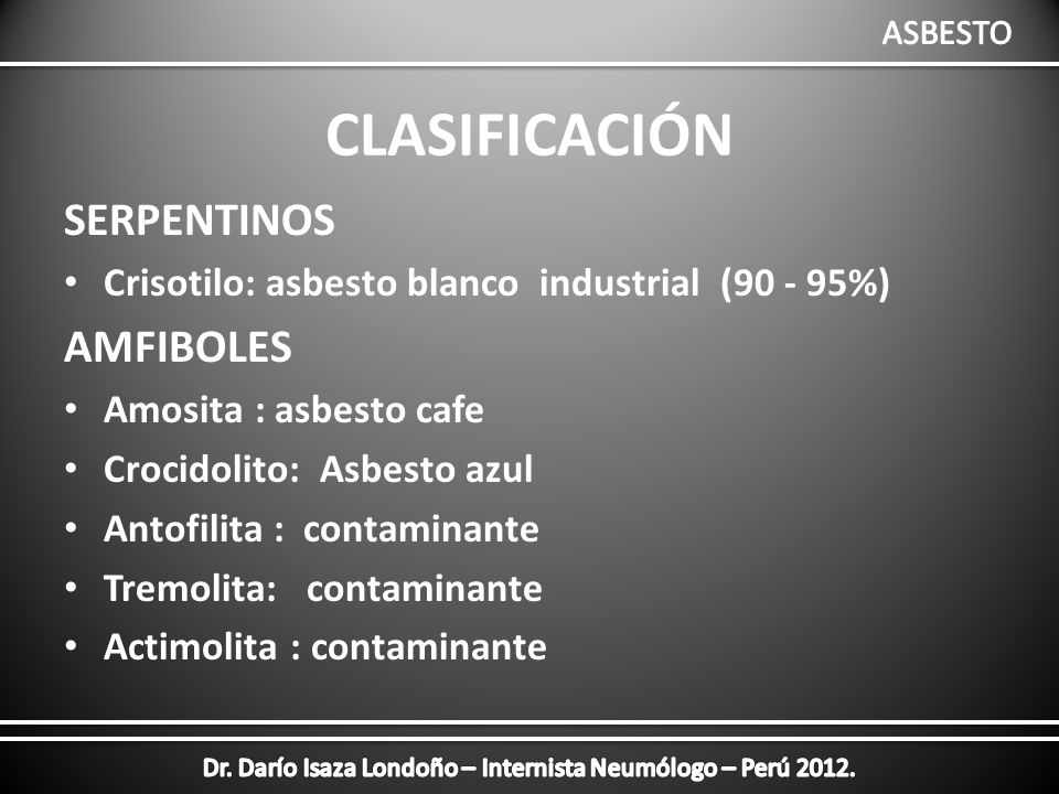Asbesto de tremolita
