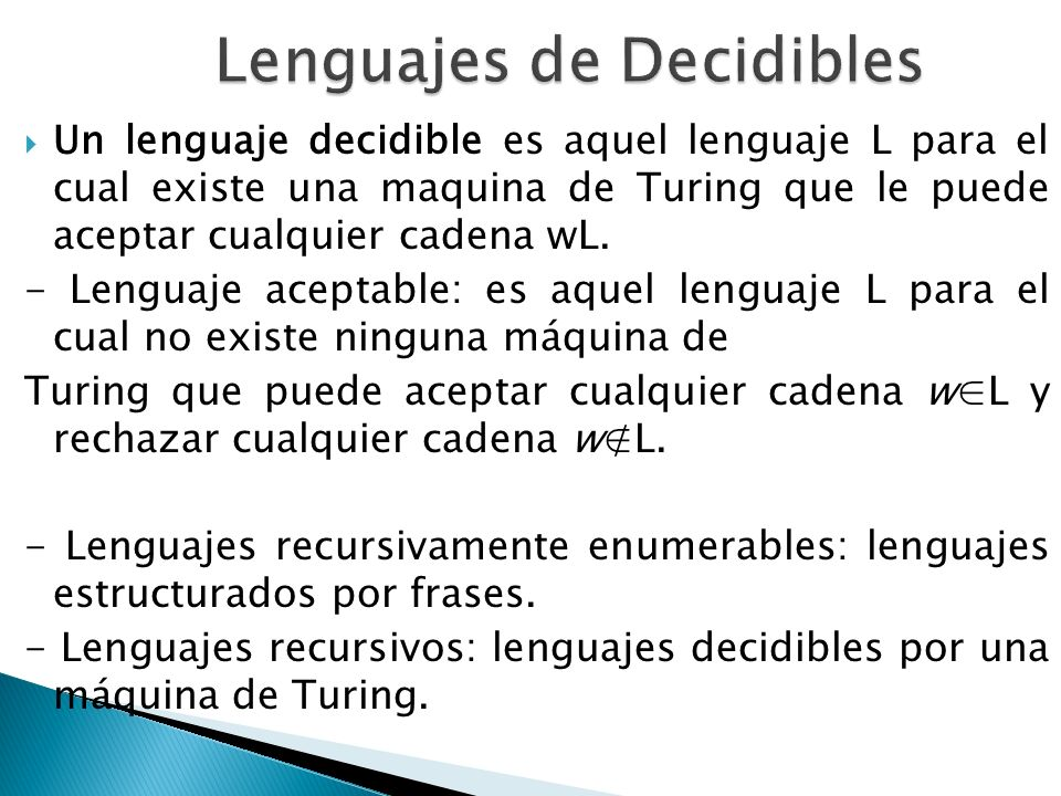 Lenguajes de Decidibles