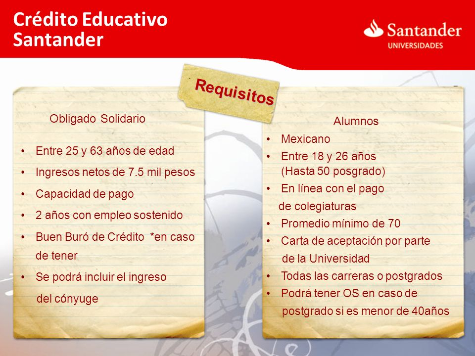 Crédito Educativo Santander Requisitos Obligado Solidario Alumnos