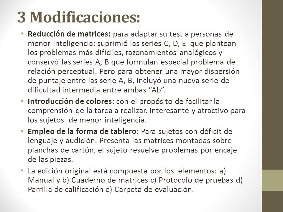 3 Modificaciones: