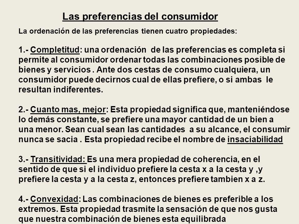 Supuestos basicos sobre las preferencias del consumidor