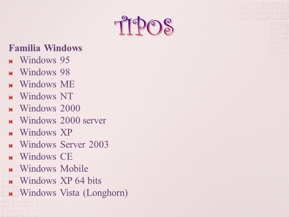 TIPOS Familia Windows Windows 95 Windows 98 Windows ME Windows NT