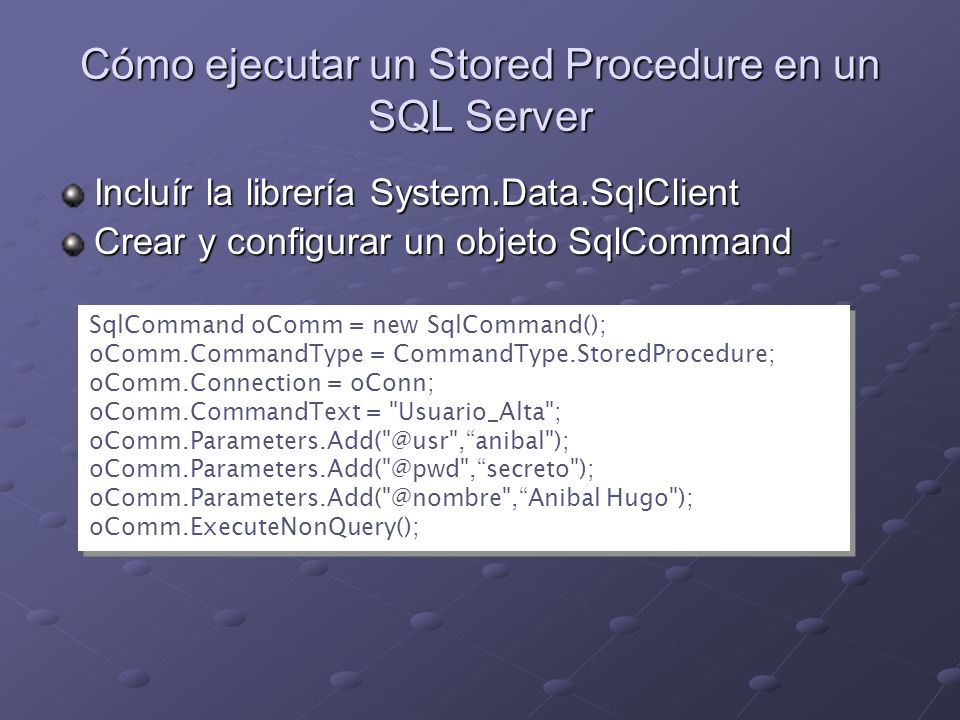 Cómo ejecutar un Stored Procedure en un SQL Server
