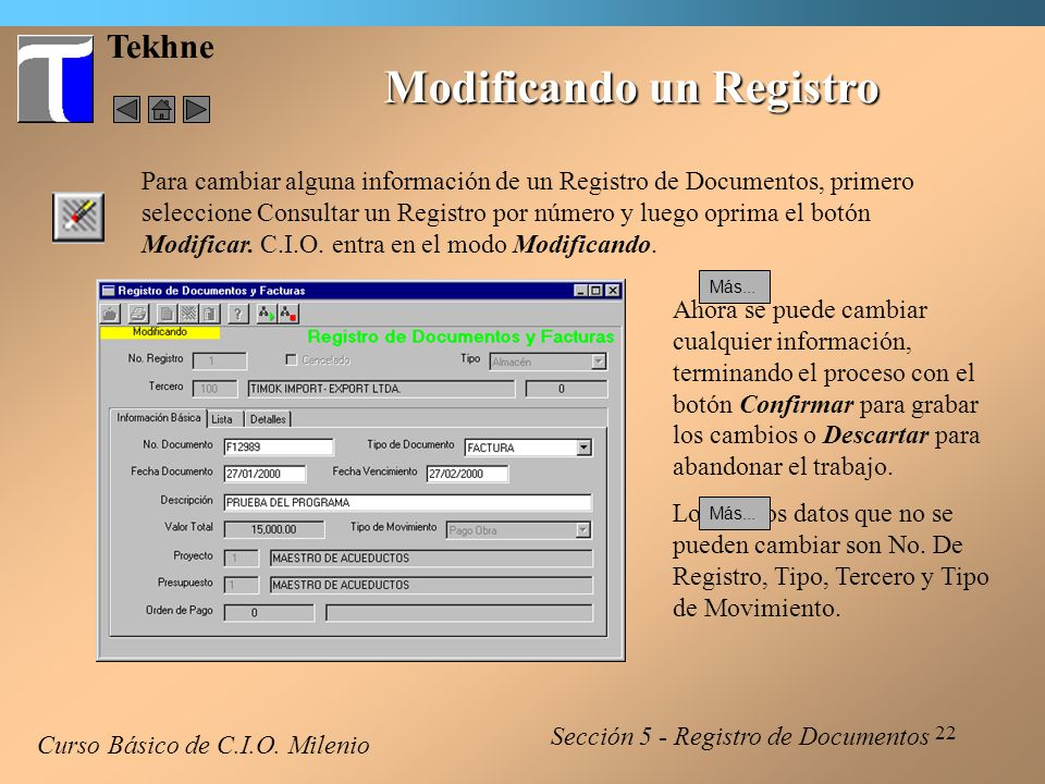 Modificando un Registro