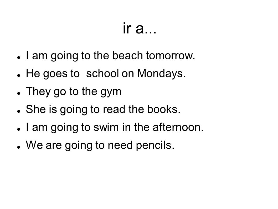 ir a... I am going to the beach tomorrow.