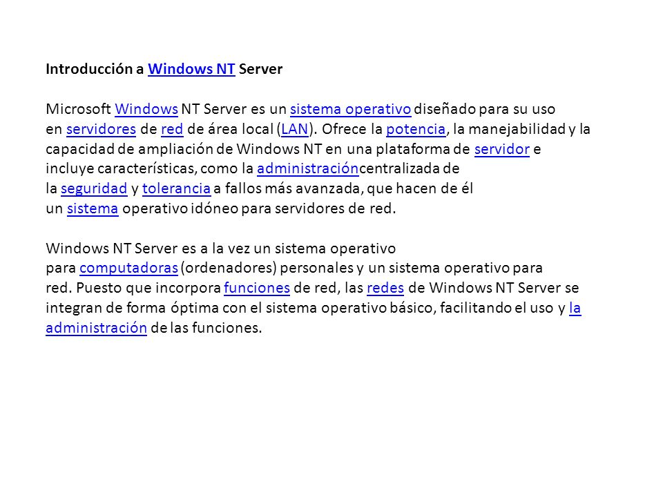 Introducción a Windows NT Server