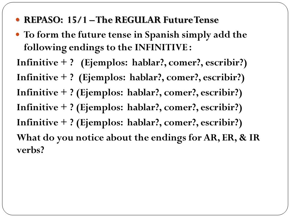 REPASO: 15/1 – The REGULAR Future Tense
