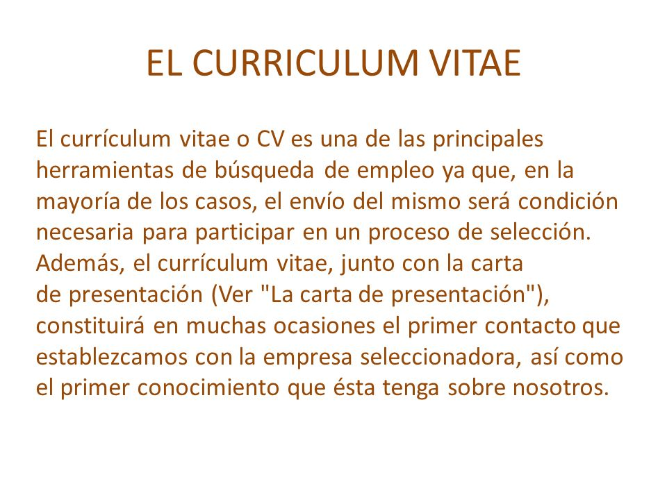 El Curriculum Vitae Cv Ppt Video Online Descargar