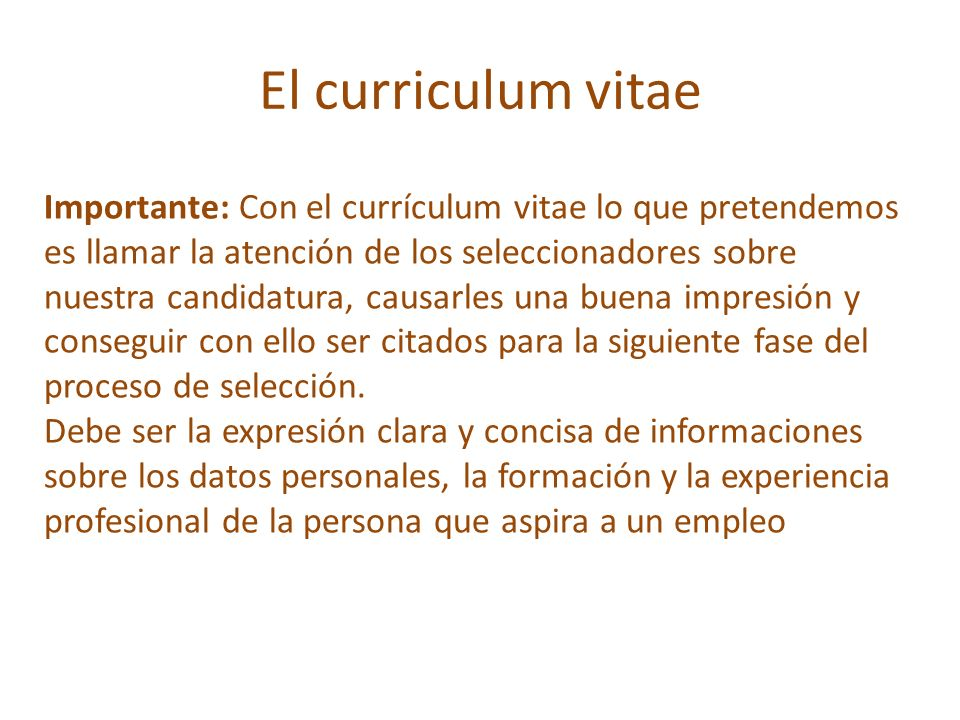 El Curriculum Vitae Cv Ppt Video Online Descargar