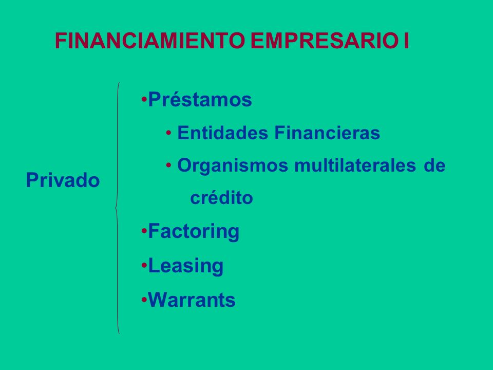 FINANCIAMIENTO EMPRESARIO I