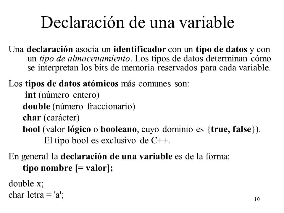 Declaración de una variable